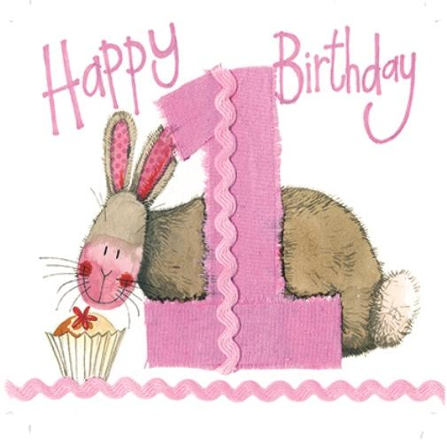 Alex Clark 1st Birthday Bunny Card