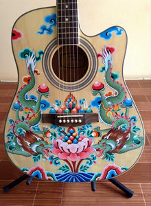 Thangka Style Dragon Yamaha Guitar