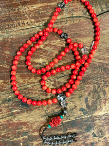 Coral Mala with Hand Carved Lotus