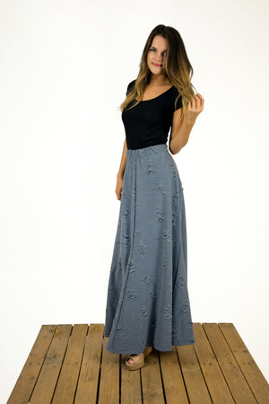 Distressed Denim Maxi Skirt