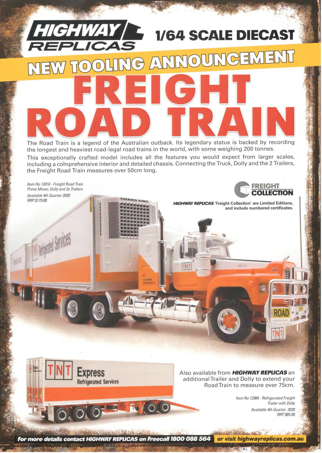 Highway Replicas TNT Road Freight Train 12016 PREORDER