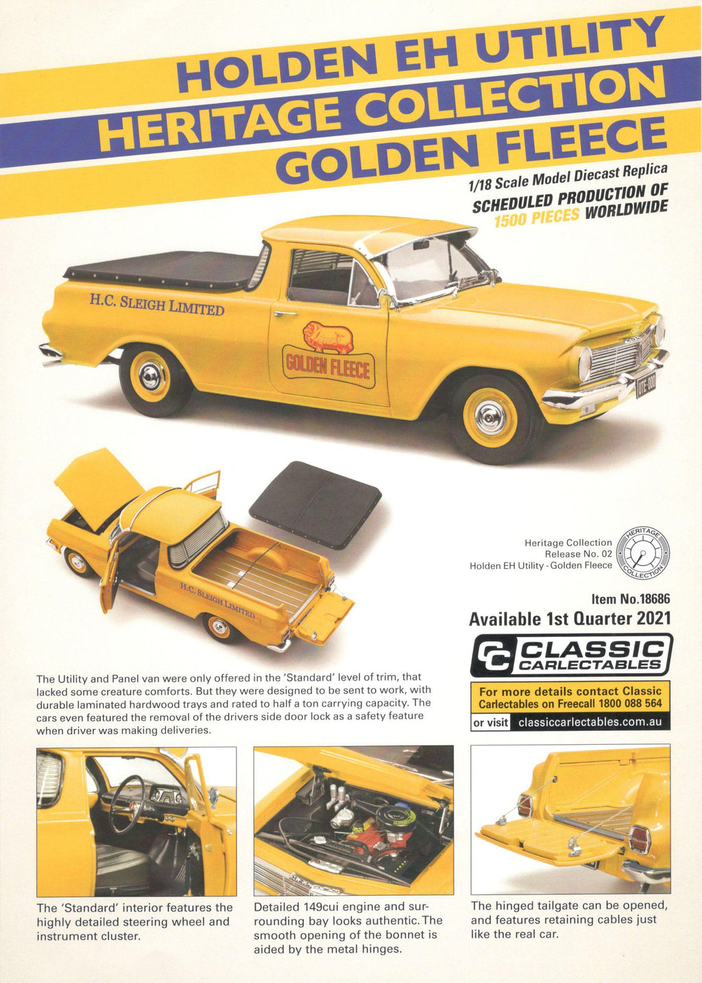 Classic Carlectables Holden EH Utility Heritage Collection Golden Fleece 18686