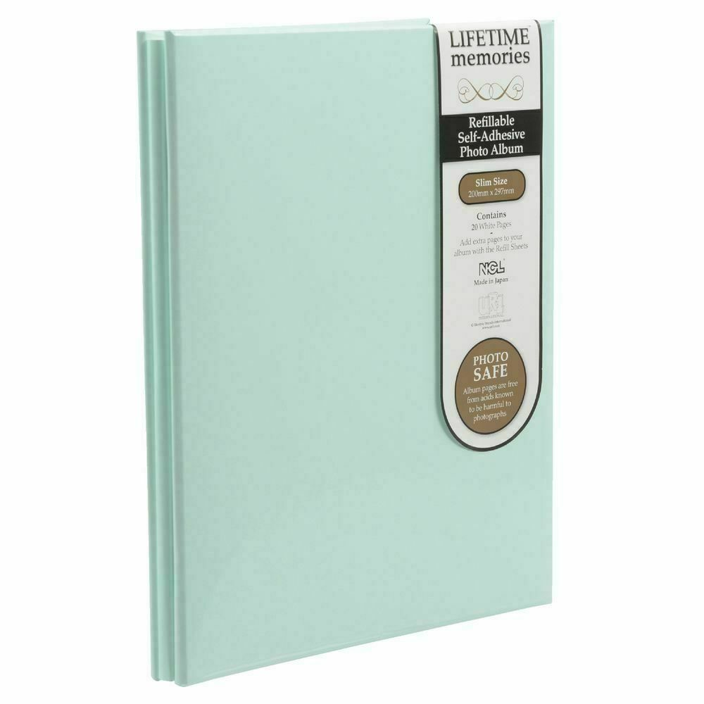 NCL Self Adhesive Slim Green Refillable Album White Pages Photo Album