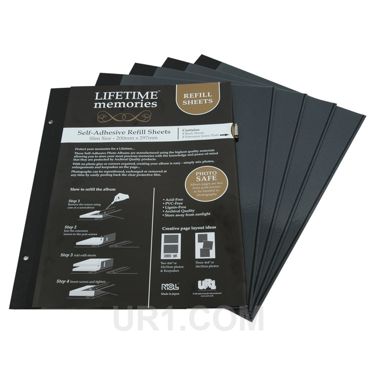NCL Self Adhesive Refills A4 Slim 5 Black Sheets Photo Album