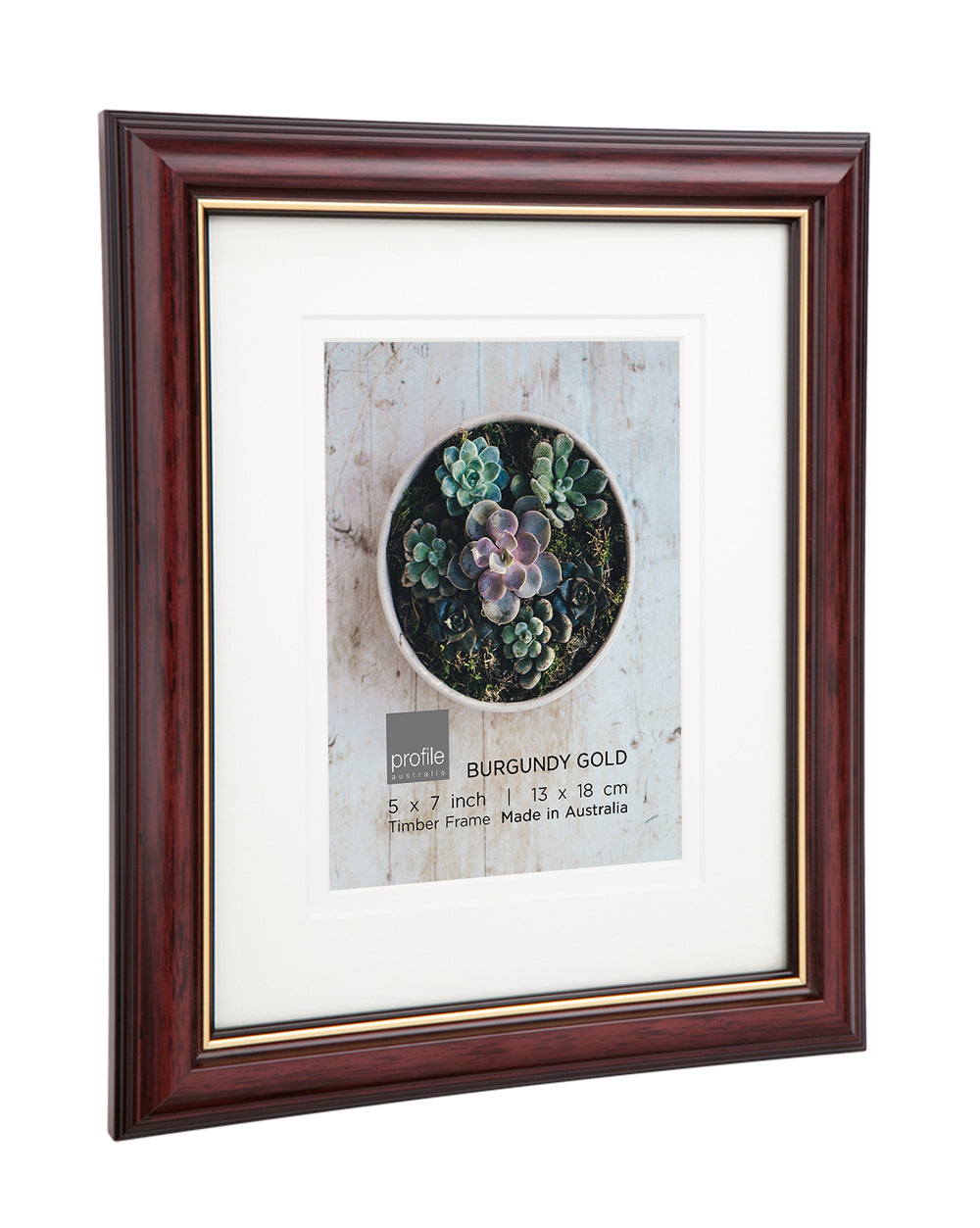 Burgundy Gold Double matted Photo Frame