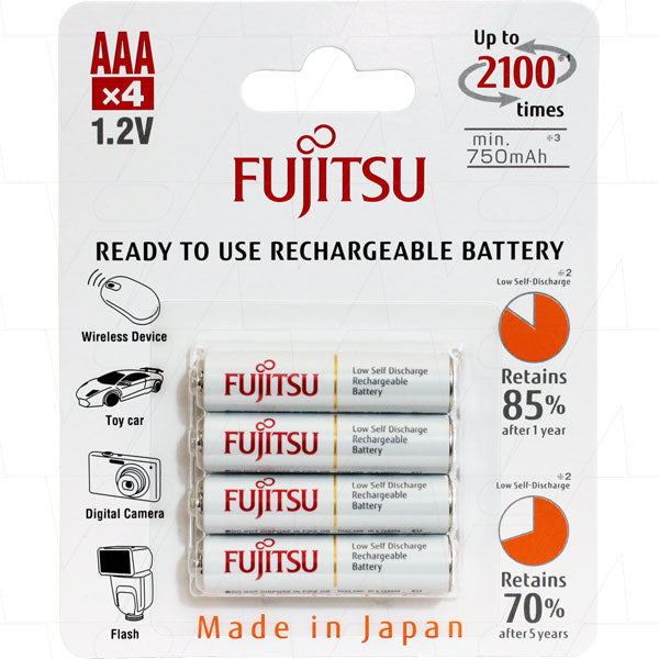 Fujitsu AAA 700mAh NiMH Rechargeable Battery 4 Pack