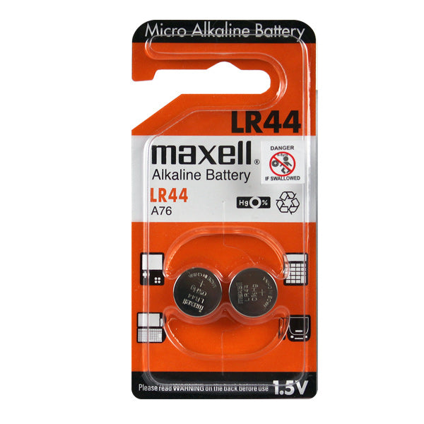 Maxell LR44 A76 Alkaline 1.5V Button Battery 2Pack
