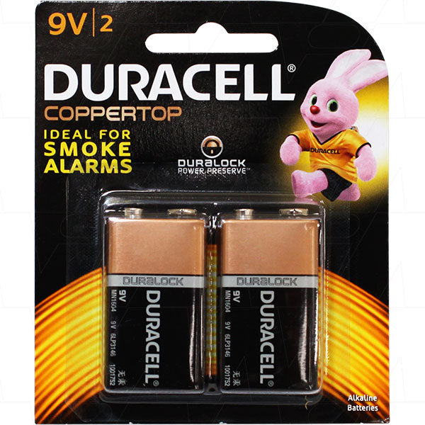 Duracell Coppertop 9V Alkaline Battery 2 Pack