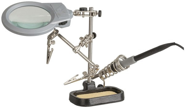 Holder PCB with LED Magnifier and Soldering Iron Stand