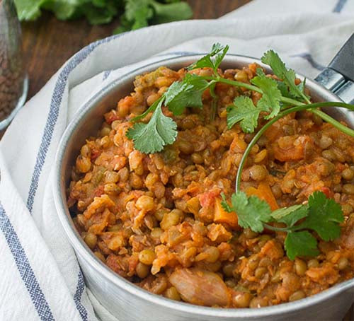 Braised vegan lentils