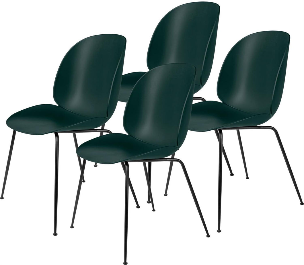 Gubi 4 x Beetle Dining Chair - Black base Dark Green