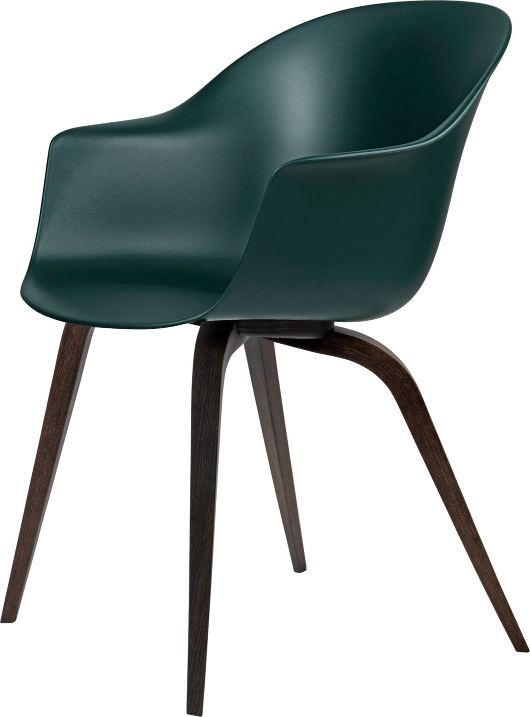 Gubi Bat Dining Chair - Wood Base Smoaked Oak/Dark Green