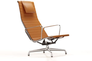 Vitra Aluminium Chair EA 124 Chromed Base Cognac