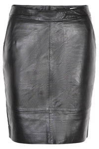 Gestuz Char Mini Leather Skirt Sort