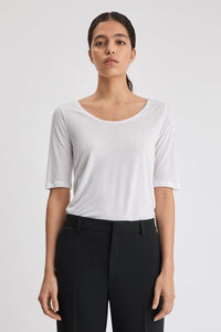 Filippa K Tencel Scoop-neck Tee Hvit
