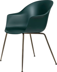 Gubi Bat Dining Chair - Conic Base Brass/Dark Green