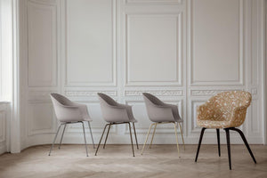 Gubi Bat Dining Chair - Conic Base Black Matt/White