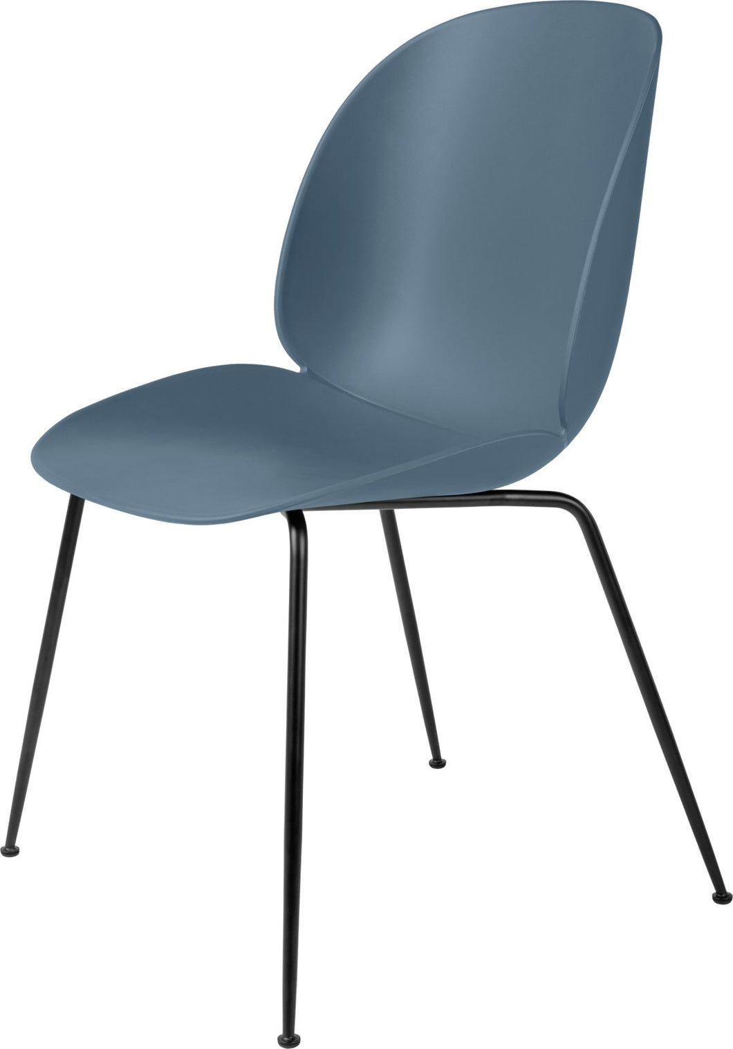 Gubi Beetle Dining Chair - Black base Smoke Blue