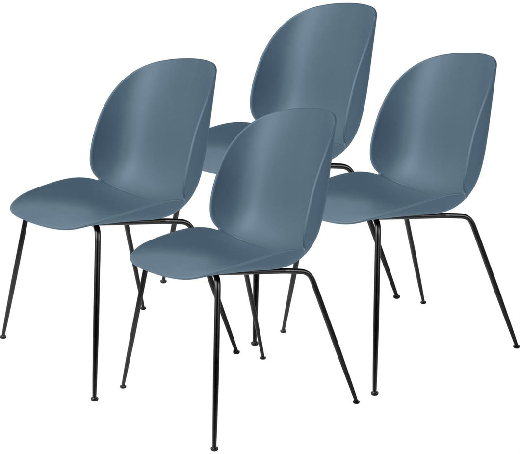 Gubi 4 x Beetle Dining Chair - Black base Smoke Blue