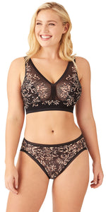 Wacoal Net Effect Hipster in Black Leopard Botanical Jacquard