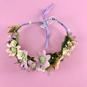 Pink and purple wreath head piece