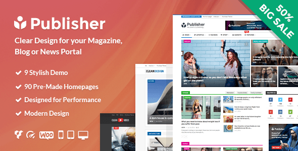 Publisher Pro WordPress Theme with All Plugins Pre-Activated