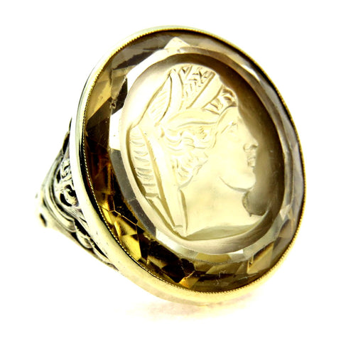 Recess Carved Citrine Cameo ring set in 14k Green Gold.