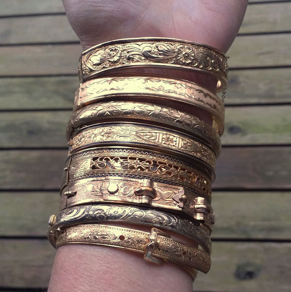 Antique Victorian Bangle Bracelets in Gold Filled