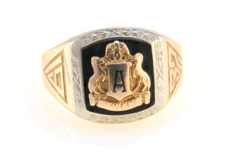 Signet style Art Deco school ring dated 1932, two tone 10k Gold, Black Onyx and enamel.