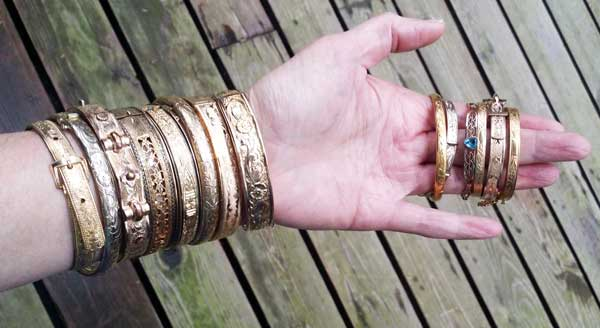 Stacked Victorian & Edwardian Gold Fill Bangles