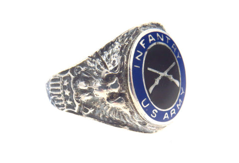 WWII Armed Forces Infantry Signet Ring in Sterling Silver and vitreous enamel.