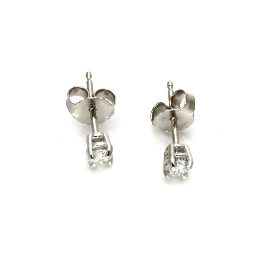 0.25 Cts Diamond SolitaireWhite Gold Earrings Vintage, 1930s to 1980s