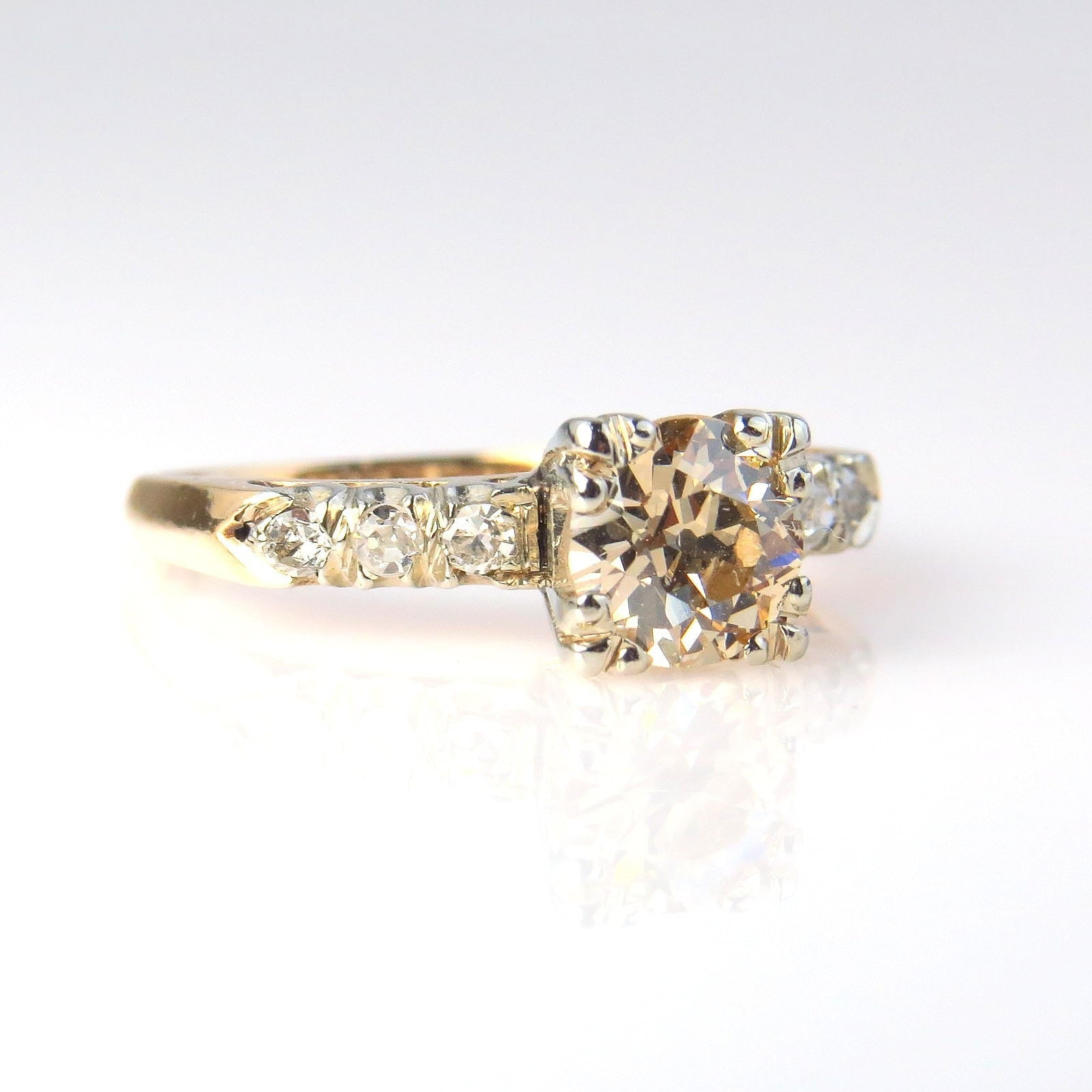 champagne diamond solitaire ring 1 25 tcw preadored™