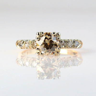 1.1Ct Champagne Diamond Solitaire Engagement Ring  VS1 Vintage, 1930s to 1980s