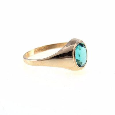 10k Gold Blue Zircon Signet Ring Vintage, 1930s to 1980s