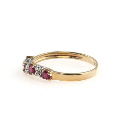 10k Gold Ruby Wave Band Ring Vintage, 1930s to 1980s