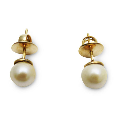 14k Gold 7.5mm Pearl Solitaire Earrings Vintage, 1930s to 1980s