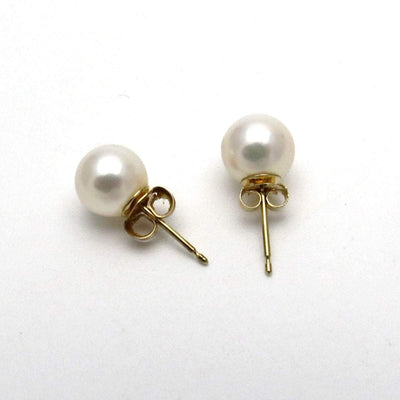 14k Gold 7mm Pearl Solitaire Earrings Vintage, 1930s to 1980s