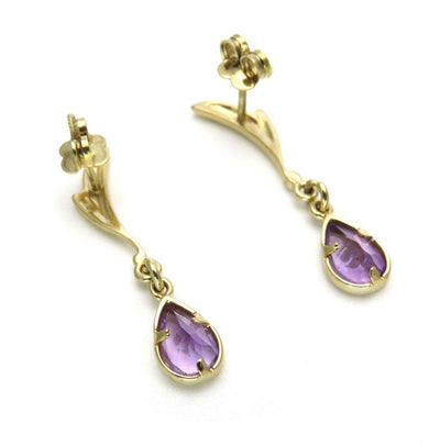 14k Gold Amethyst Drop Earrings Vintage, 1930s to 1980s