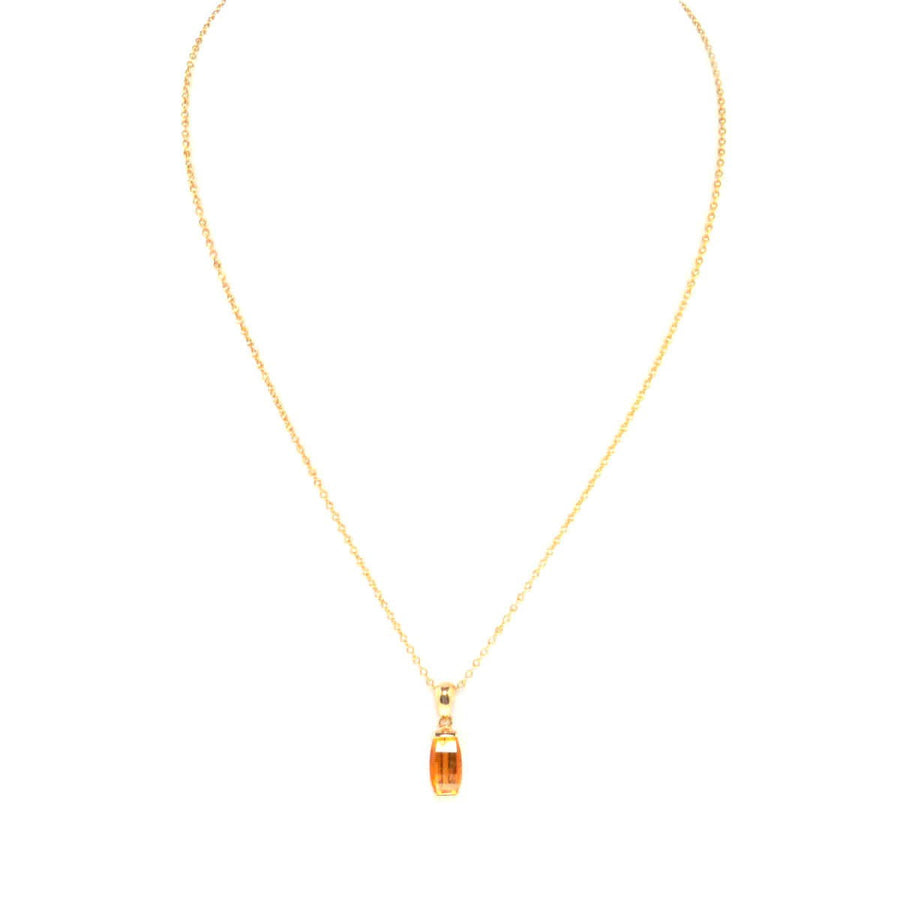 14k Gold Arch Cut Gem Citrine Pendant Necklace Contemporary, Post 1990