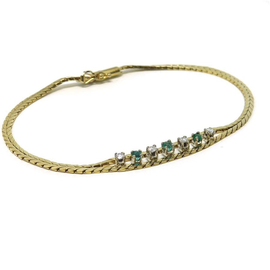 14k Gold Bracelet Diamond and Emerald Center
