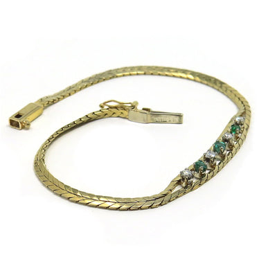 14k Gold Bracelet Diamond & Emerald Center Vintage, 1930s to 1980s