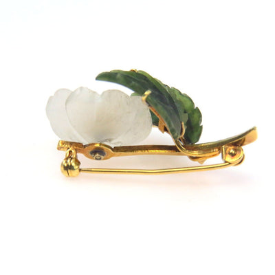 14k Gold Carved Quartz Crystal Flower Jade Leaves Pearl Pin Brooch Vintage, 1930s to 1980s