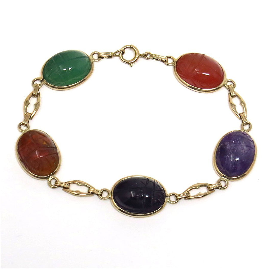 14k Gold Carved Scarab Bracelet