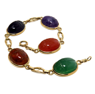 14k Gold Carved Scarab Bracelet Vintage, 1930s to 1980s