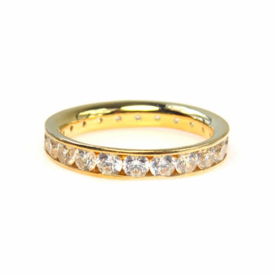 14k Gold Cubic Zirconia Infinity Band Ring Contemporary, Post 1990