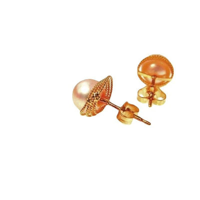 14k Gold Cultured Pearl Post Earrings Contemporary, Post 1990