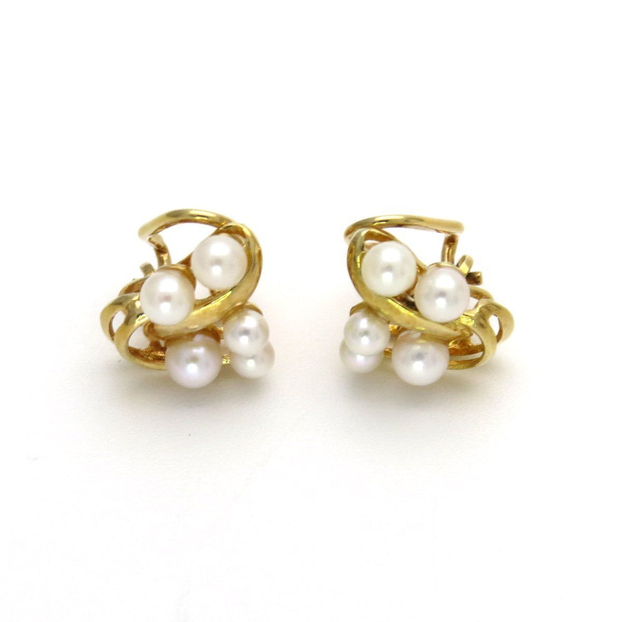 14k Gold Cultured Pearls Clip Earrings Vintage, 1930s to 1980s