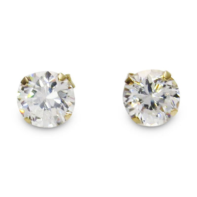 14k Gold CZ Solitaire Stud Earrings Vintage, 1930s to 1980s