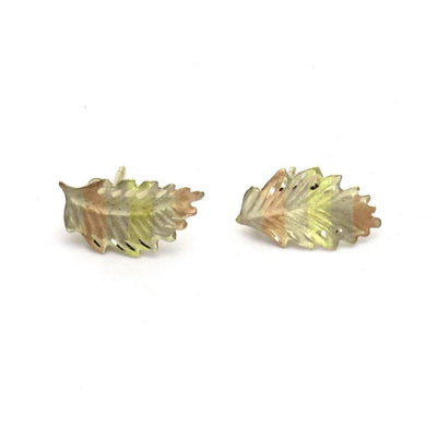 14k Gold Dainty Leaf Post Earrings Vintage, 1930s to 1980s